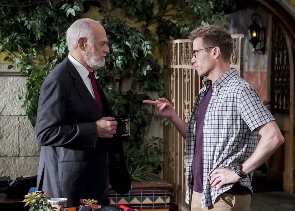 """""""Hit List"""" -- Pictured: Gerald McRaney (Retired Navy Admiral Hollace Kilbride) and Barrett Foa (Tech Operator Eric Beale). The NCIS team is in danger after their pictures, as well as Mosley and her son's names, are included on a cartel hit list. Also, NCIS Deputy Director Louis Ochoa (Esai Morales) arrives with Special Prosecutor John Rogers (Peter Jacobson) to interview Mosley about the off-the-books mission in Mexico, on NCIS: LOS ANGELES, Sunday, Oct. 21 (9:30-10:30 PM, ET/9:00-10:00 PM, PT) on the CBS Television Network. Gerald McRaney guest stars as Retired Navy Admiral Hollace Kilbride. Photo: Monty Brinton/CBS ©2018 CBS Broadcasting, Inc. All Rights Reserved."""