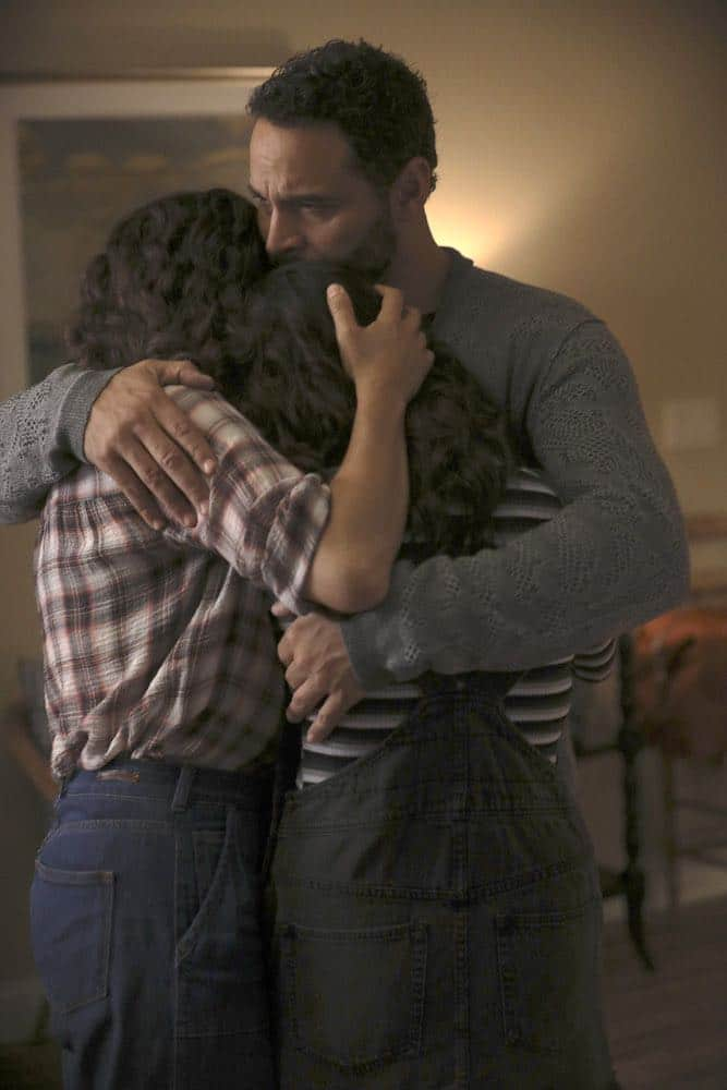 "MANIFEST -- ""Connecting Flights"" Episode 105 -- Pictured: (l-r) Luna Blaise as Olive Stone, Daniel Sunjata as Danny -- (Photo by: Craig Blankenhorn/NBC/Warner Brothers)"