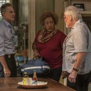 """In the Blood"" - Pride's father, Cassius Pride (Stacy Keach), is wrapped up in an NCIS case involving a notorious unsolved casino heist from several years ago. Also, Pride meets a family member he never knew existed, on the milestone 100th episode of NCIS: NEW ORLEANS, Tuesday, Oct. 23 (10:00-11:00 PM, ET/PT) on the CBS Television Network. Pictured L-R: Scott Bakula as Special Agent Dwayne Pride, CCH Pounder as Dr. Loretta Wade, and Stacy Keach as Cassius Pride Photo: Skip Bolen/CBS ©2018 CBS Broadcasting, Inc. All Rights Reserved"