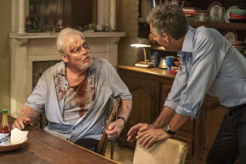 """In the Blood"" - Pride's father, Cassius Pride (Stacy Keach), is wrapped up in an NCIS case involving a notorious unsolved casino heist from several years ago. Also, Pride meets a family member he never knew existed, on the milestone 100th episode of NCIS: NEW ORLEANS, Tuesday, Oct. 23 (10:00-11:00 PM, ET/PT) on the CBS Television Network. Pictured L-R: Stacy Keach as Cassius Pride and Scott Bakula as Special Agent Dwayne Pride Photo: Skip Bolen/CBS ©2018 CBS Broadcasting, Inc. All Rights Reserved"