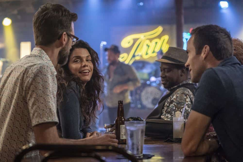 """In the Blood"" - Pride's father, Cassius Pride (Stacy Keach), is wrapped up in an NCIS case involving a notorious unsolved casino heist from several years ago. Also, Pride meets a family member he never knew existed, on the milestone 100th episode of NCIS: NEW ORLEANS, Tuesday, Oct. 23 (10:00-11:00 PM, ET/PT) on the CBS Television Network. Pictured L-R: Rob Kerkovich as Forensic Scientist Sebastian Lund, Vanessa Ferlito as FBI Special Agent Tammy Gregorio, Daryl Chill Mitchell as Patton Plame, and Lucas Black as Special Agent Christopher LaSalle Photo: Skip Bolen/CBS ©2018 CBS Broadcasting, Inc. All Rights Reserved"