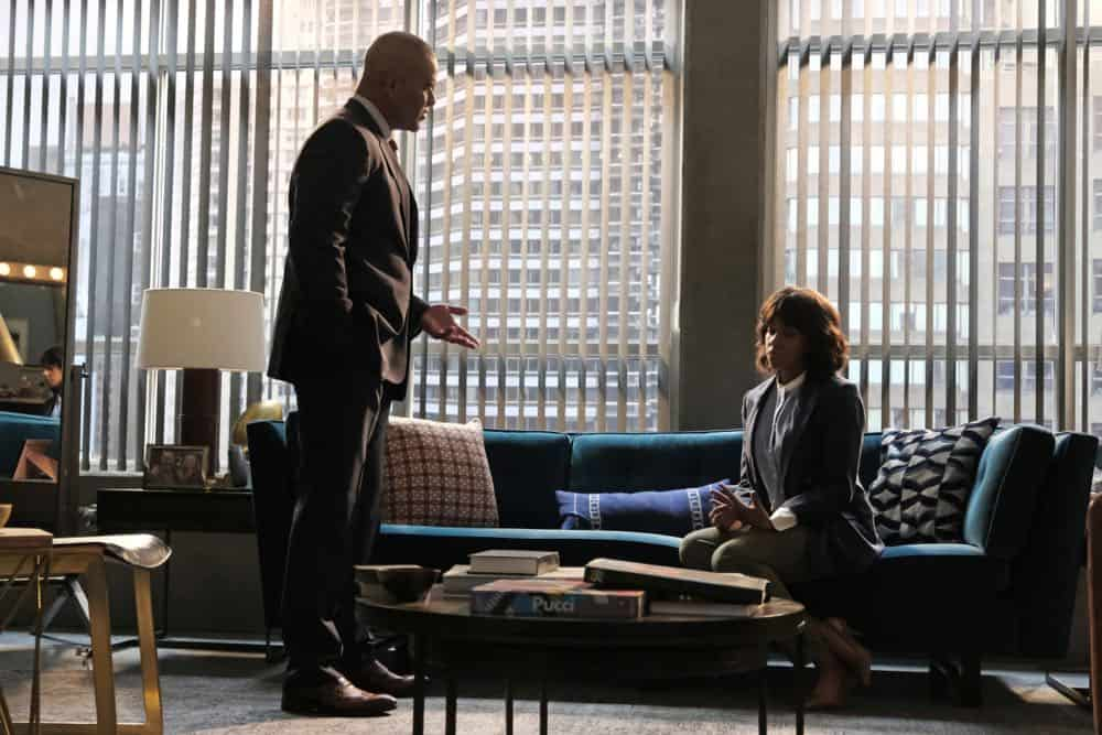 """The Missing Piece"" - Bull joins the defense team of a seemingly unwinnable case when a man he believes is innocent, is put on trial for murder after his submission to a DNA database links him to a homicide. Also, while Bull and Benny work toward selecting jurors who are predisposed to trust their gut instinct rather than incontrovertible evidence, Danny and Mackenzie research whether their client's DNA could have been contaminated, on BULL, Monday, Oct. 22 (10:00-11:00 PM, ET/PT) on the CBS Television Network. Pictured L-R: Chris Jackson as Chunk Palmer and China Shavers as Jody Harper Photo: Jojo Whilden/CBS ©2018 CBS Broadcasting, Inc. All Rights Reserved"