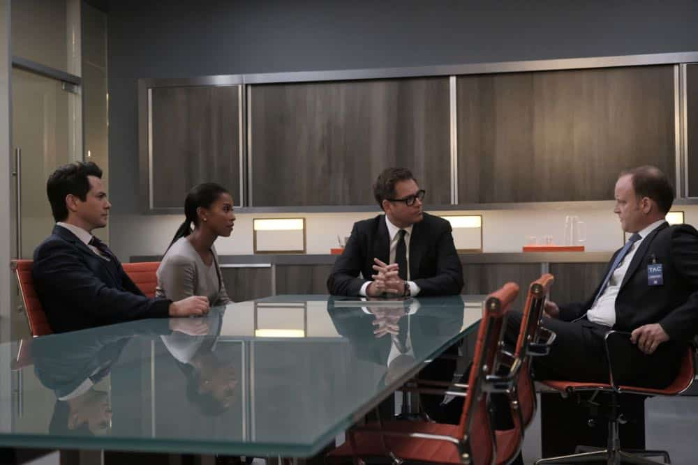 """The Missing Piece"" - Bull joins the defense team of a seemingly unwinnable case when a man he believes is innocent, is put on trial for murder after his submission to a DNA database links him to a homicide. Also, while Bull and Benny work toward selecting jurors who are predisposed to trust their gut instinct rather than incontrovertible evidence, Danny and Mackenzie research whether their client's DNA could have been contaminated, on BULL, Monday, Oct. 22 (10:00-11:00 PM, ET/PT) on the CBS Television Network. Pictured L-R: Freddy Rodriguez as Benny Colón, Kearran Giovanni as Lindsey Thompson, Michael Weatherly as Dr. Jason Bull, and Jeremiah Wiggins as ADA Nathan Collins Photo: Jojo Whilden/CBS ©2018 CBS Broadcasting, Inc. All Rights Reserved"