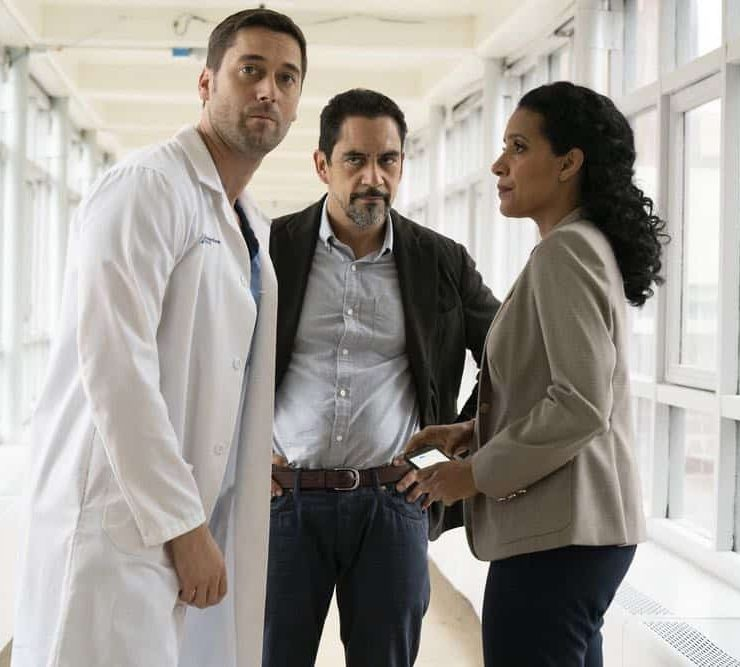 "NEW AMSTERDAM -- ""Cavitation"" Episode 105 -- Pictured: (l-r) Ryan Eggold as Dr. Max Goodwin, José Zúñiga as Louis ""Lou"" Navarro, Zabryna Guevara as Dora -- (Photo by: Virginia Sherwood/NBC)"