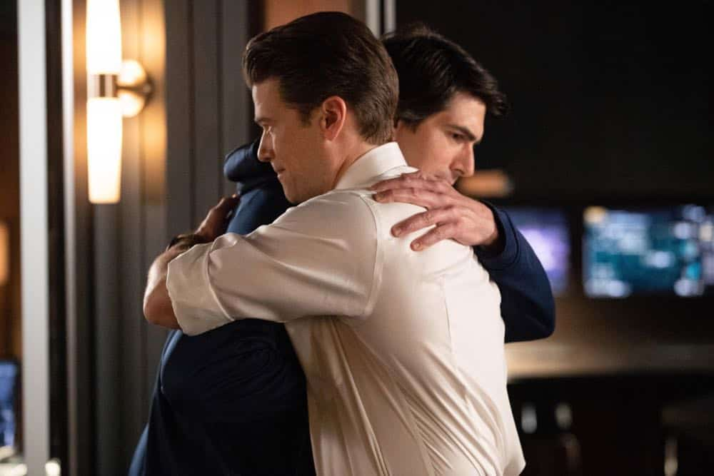 "DC's Legends of Tomorrow -- ""Witch Hunt"" -- Image Number: LGN402a_0313b.jpg -- Pictured (L-R): Nick Zano as Nate Heywood/Steel and Brandon Routh as Ray Palmer/Atom -- Photo: Jack Rowand/The CW -- © 2018 The CW Network, LLC. All Rights Reserved."