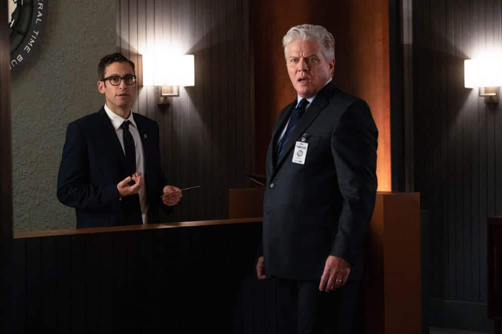 "DC's Legends of Tomorrow -- ""Witch Hunt"" -- Image Number: LGN402a_0079b.jpg -- Pictured (L-R): Adam Tsekhman as Agent Gary Green and Tom Wilson as Hank Heywood -- Photo: Jack Rowand/The CW -- © 2018 The CW Network, LLC. All Rights Reserved."