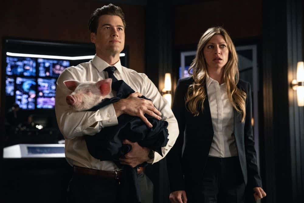 "DC's Legends of Tomorrow -- ""Witch Hunt"" -- Image Number: LGN402a_0059b.jpg -- Pictured (L-R): Nick Zano as Nate Heywood/Steel and Jes Macallan as Ava Sharpe -- Photo: Jack Rowand/The CW -- © 2018 The CW Network, LLC. All Rights Reserved."