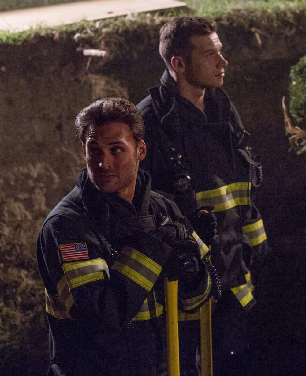 "9-1-1: L-R: Ryan Guzman and Oliver Stark in the ""Haunted"" episode of 9-1-1 airing Monday, Oct. 29 (9:00-10:00 PM ET/PT) on FOX. © 2018 FOX Broadcasting. CR: Jack Zeman / FOX."