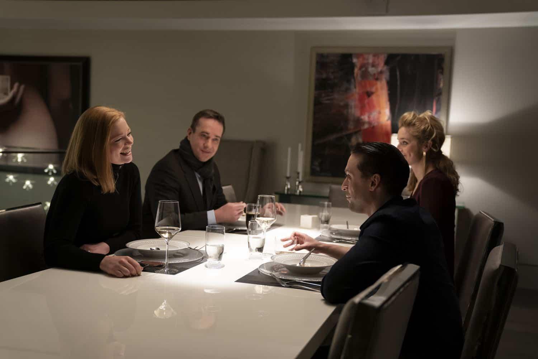 Succession Season 2, episode 2 (debuts 8/18/19): Sarah Snook, Matthew Macfadyen, Kieran Culkin, Caitlin Fitzgerald. photo: Peter Kramer/HBO