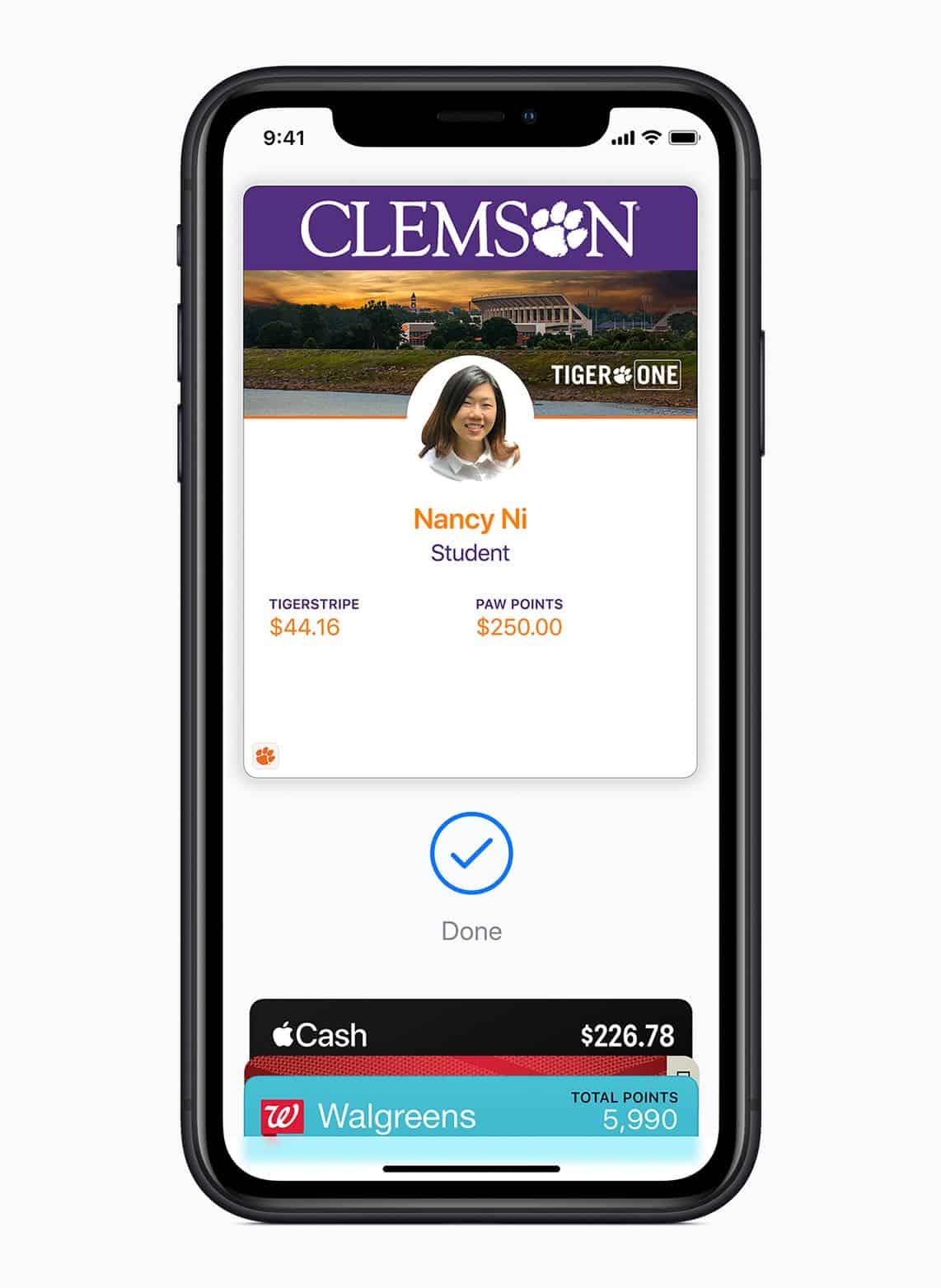 Apple brings student IDs to iPhone and Apple Watch clemson student ID screen 081319