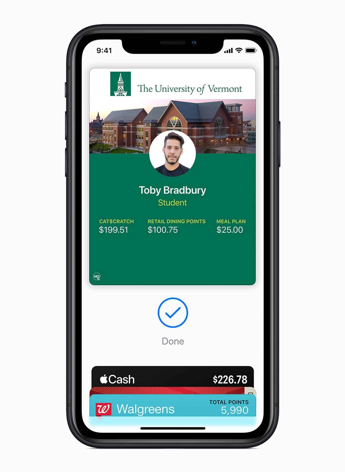 Apple brings student IDs to iPhone and Apple Watch university of vermont student ID screen 081319