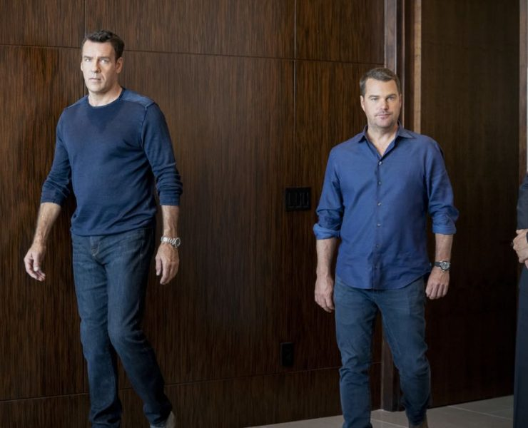 """Let Fate Decide"" -- Pictured: David James Elliott (Navy Captain Harmon Rabb, Jr.) and Chris O'Donnell (Special Agent G. Callen). Callen and Sam work with Navy Capt. Harmon Rabb, Jr. (David James Elliott) to apprehend spies aboard the USS Allegiance. Also, Hetty partners with Marine Lt. Col. Sarah ""Mac"" Mackenzie to neutralize a missile attack in the Middle East, and Kensi and Deeks are trapped in a mobile CIA unit in Iraq while under attack by ISIS, on the 11th season premiere of NCIS: LOS ANGELES, Sunday, Sept. 29 (9:30-10:30 PM, ET/PT) on the CBS Television Network. Photo: Erik Voake/CBS ©2019 CBS Broadcasting, Inc. All Rights Reserved."