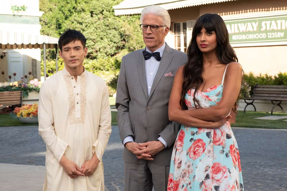"THE GOOD PLACE -- ""A Girl From Arizona"" Episode 401/402 -- Pictured: (l-r) Manny Jacinto as Jason, Ted Danson as Michael, Jameela Jamil as Tahani-- (Photo by: Colleen Hayes/NBC)"