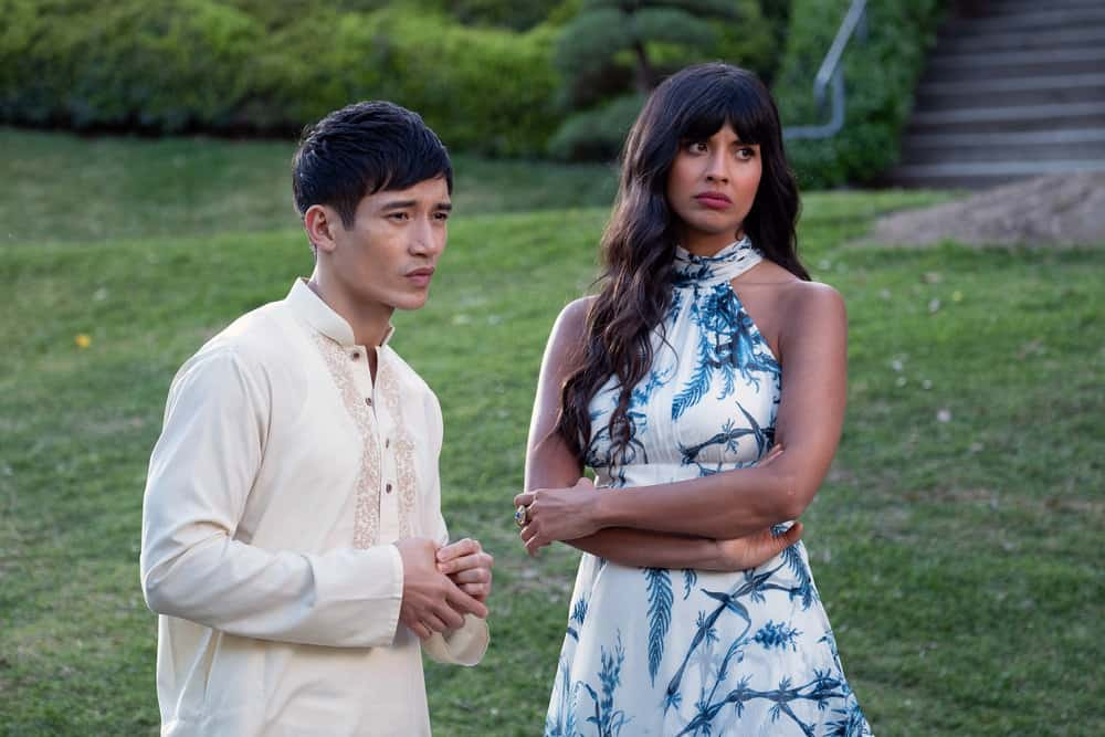 "THE GOOD PLACE -- ""A Girl From Arizona"" Episode 401/402 -- Pictured: (l-r) Manny Jacinto as Jason, Jameela Jamil as Tahani -- (Photo by: Colleen Hayes/NBC)"