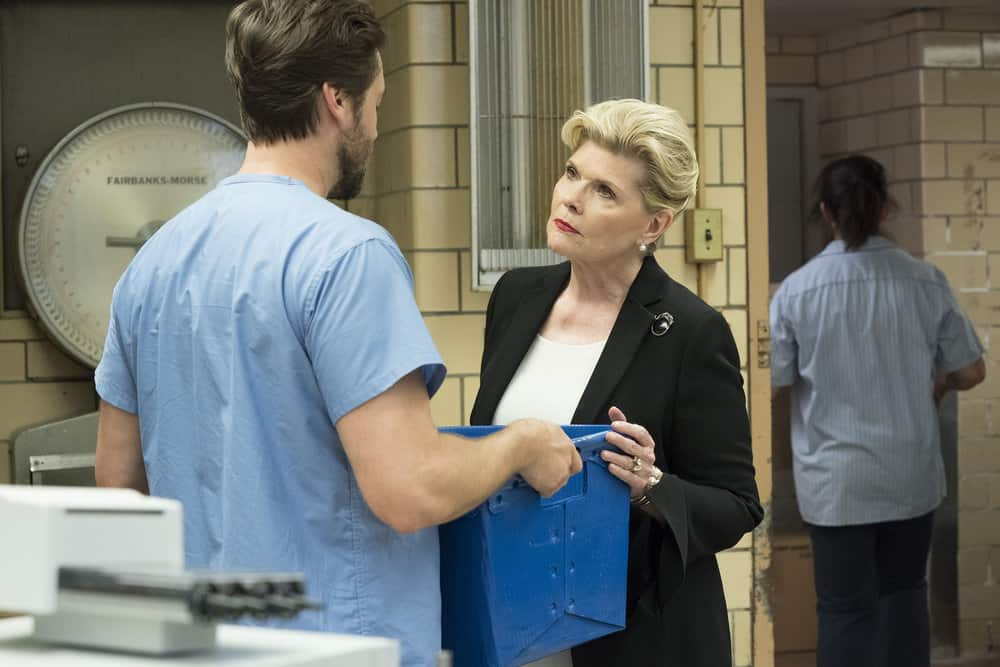 "NEW AMSTERDAM -- ""Your Turn"" Episode 201 -- Pictured: (l-r) Ryan Eggold as Dr. Max Goodwin, Debra Monk as Karen Brantley -- (Photo by: Virginia Sherwood/NBC)"