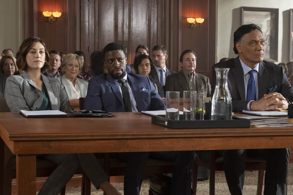 "BLUFF CITY LAW -- ""Pilot"" Episode 101 -- Pictured: (l-r) Caitlin McGee as Sydney Strait, Michael Luwoye as Anthony Little, Jimmy Smits as Elijah Strait -- (Photo by: Jake Giles Netter/NBC)"