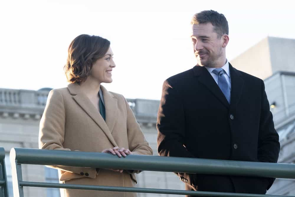 "BLUFF CITY LAW -- ""Pilot"" Episode 101 -- Pictured: (l-r) Caitlin McGee as Sydney Strait, Barry Sloane as Jake Reilly -- (Photo by: Jake Giles Netter/NBC)"