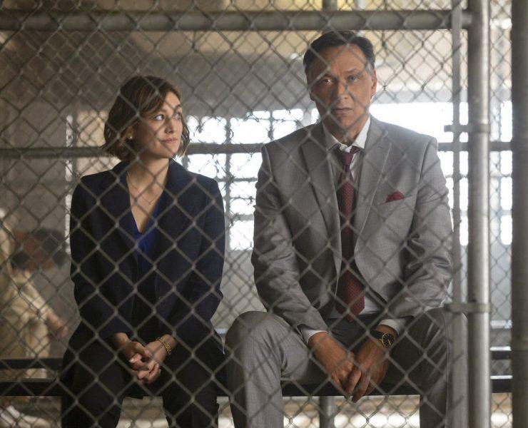 "BLUFF CITY LAW -- ""Pilot"" Episode -- Pictured: (l-r) Caitlin McGee as Sydney Strait, Jimmy Smits as Elijah Strait -- (Photo by: Jake Giles Netter/NBC)"