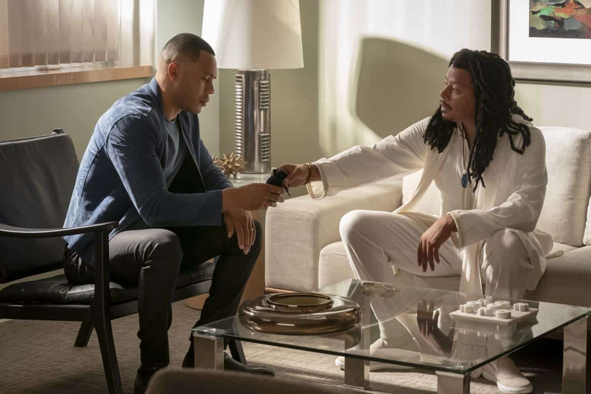 "EMPIRE: L-R: Trai Byers and Terrence Howard in the ""What Is Love"" season premiere episode of EMPIRE airing Tuesday, Sept. 24 (9:00-10:00 PM ET/PT) on FOX. ©2019 Fox Broadcasting Co. All Rights Reserved. CR: Chuck Hodes/FOX."