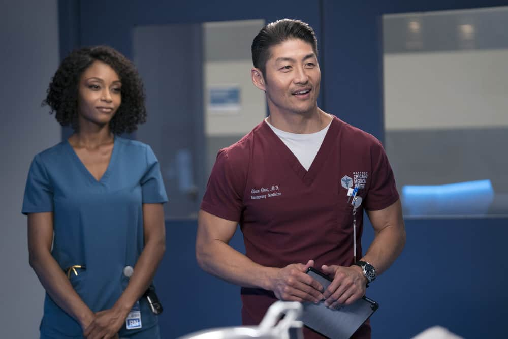 "CHICAGO MED -- ""Never Going Back To Normal"" Episode 501 -- Pictured: (l-r) Brian Tee as Dr. Ethan Choi -- (Photo by: Elizabeth Sisson/NBC)"