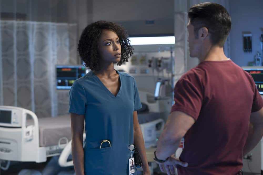 "CHICAGO MED -- ""Never Going Back To Normal"" Episode 501 -- Pictured: (l-r) Yaya DaCosta as April Sexton, Brian Tee as Dr. Ethan Choi -- (Photo by: Elizabeth Sisson/NBC)"