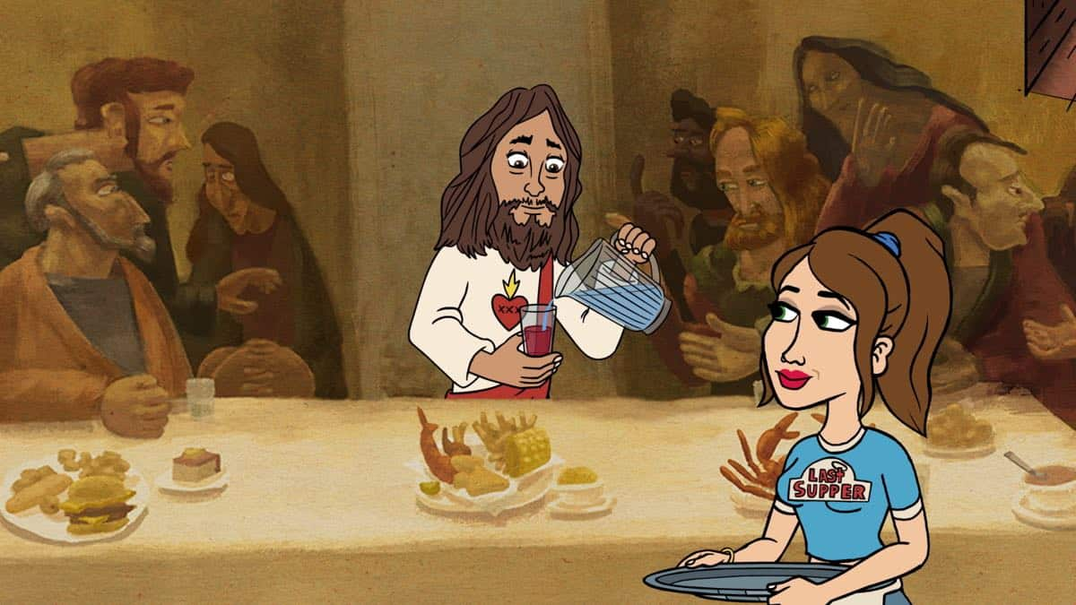 BLESS THE HARTS: BLESS THE HARTS: A new half-hour animated comedy that follows the Harts, a Southern family that is forever struggling to make ends meet, but have everything they need. Jenny speaks with Jesus about a secret of her motherís that may help her pay off the familyís overdue bills in the ìHug Në Bugsî series premiere episode of BLESS THE HARTS airing Sunday, Sept. 29 (8:30-9:00 PM ET/PT) on FOX. L-R: Jesus (Kumail Nanjiani) and Jenny (Kristen Wiig). BLESS THE HARTS ô and © 2019 TCFFC ALL RIGHTS RESERVED. CR: FOX