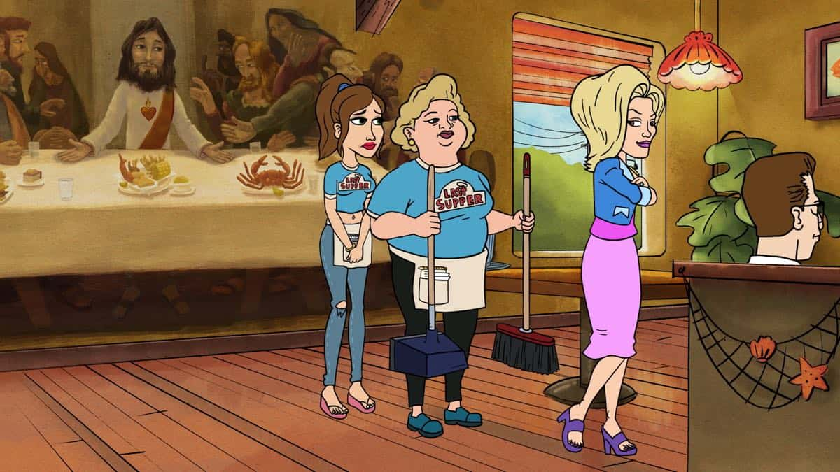 BLESS THE HARTS: A new half-hour animated comedy that follows the Harts, a Southern family that is forever struggling to make ends meet, but have everything they need. For Jenny Hart, that means taking work wherever she can find it, like her job at The Last Supper restaurant. The ìHug Në Bugsî series premiere episode of BLESS THE HARTS airs Sunday, Sept. 29 (8:30-9:00 PM ET/PT) on FOX. L-R: Jenny (Kristen Wiig), Brenda (Fortune Feimster) and Louise (Emily Spivey). BLESS THE HARTS ô and © 2019 TCFFC ALL RIGHTS RESERVED. CR: FOX