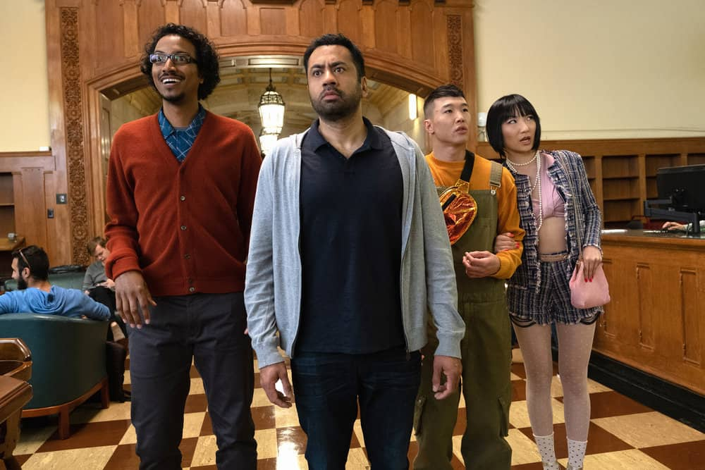 "SUNNYSIDE -- ""Pilot"" Episode -- Pictured: (l-r) Samba Schutte as Hakim, Kal Penn as Garrett, Joel Kim Booster as Jun Ho, Poppy Liu as Mei Lin -- (Photo by: Colleen Hayes/NBC)"