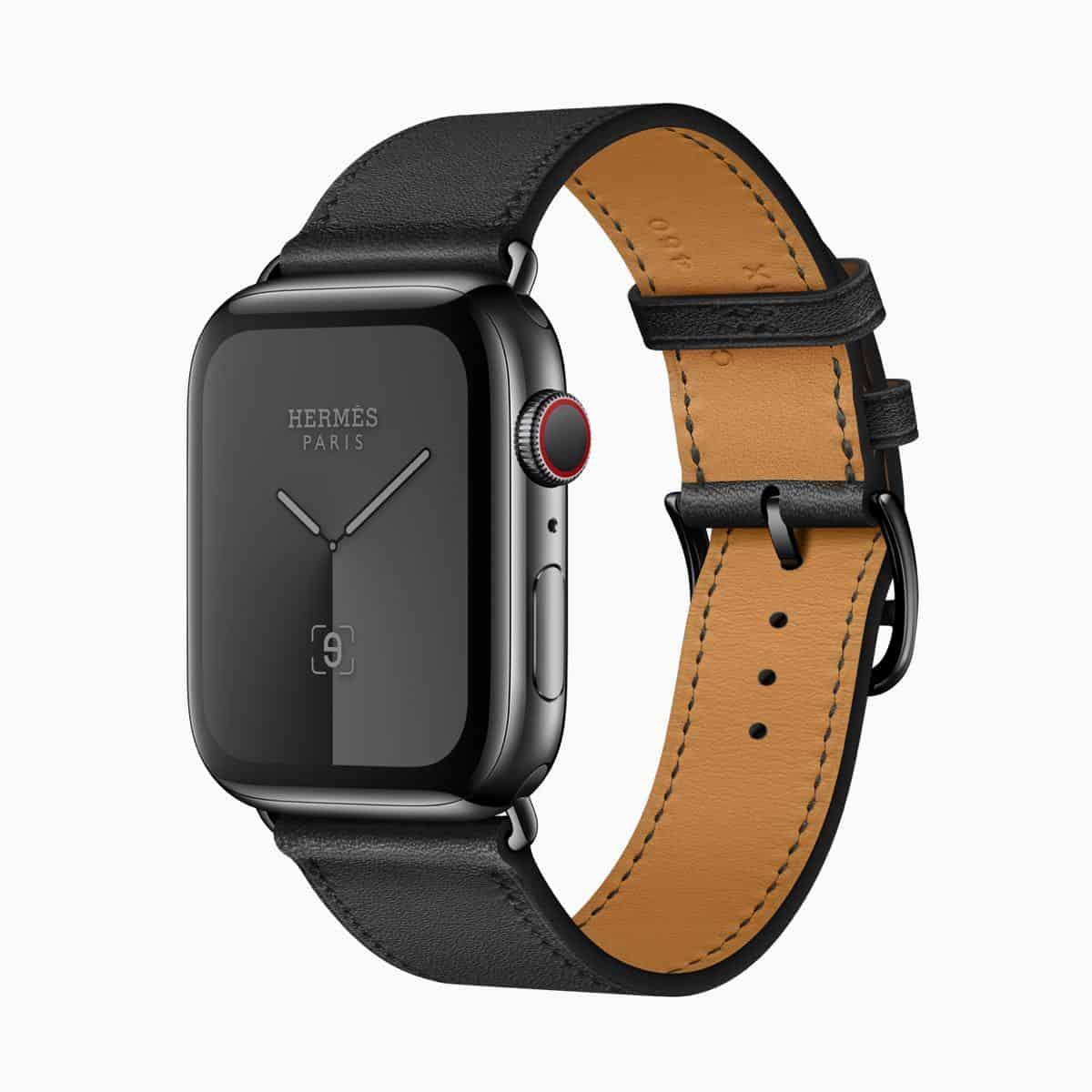 Apple watch series 5 hermes face single tour noir band 091019