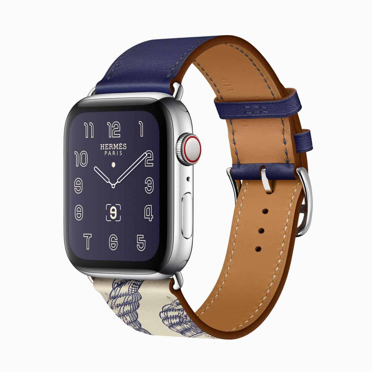 Apple watch series 5 hermes face single tour della cavalleria print encre beton blue band 091019