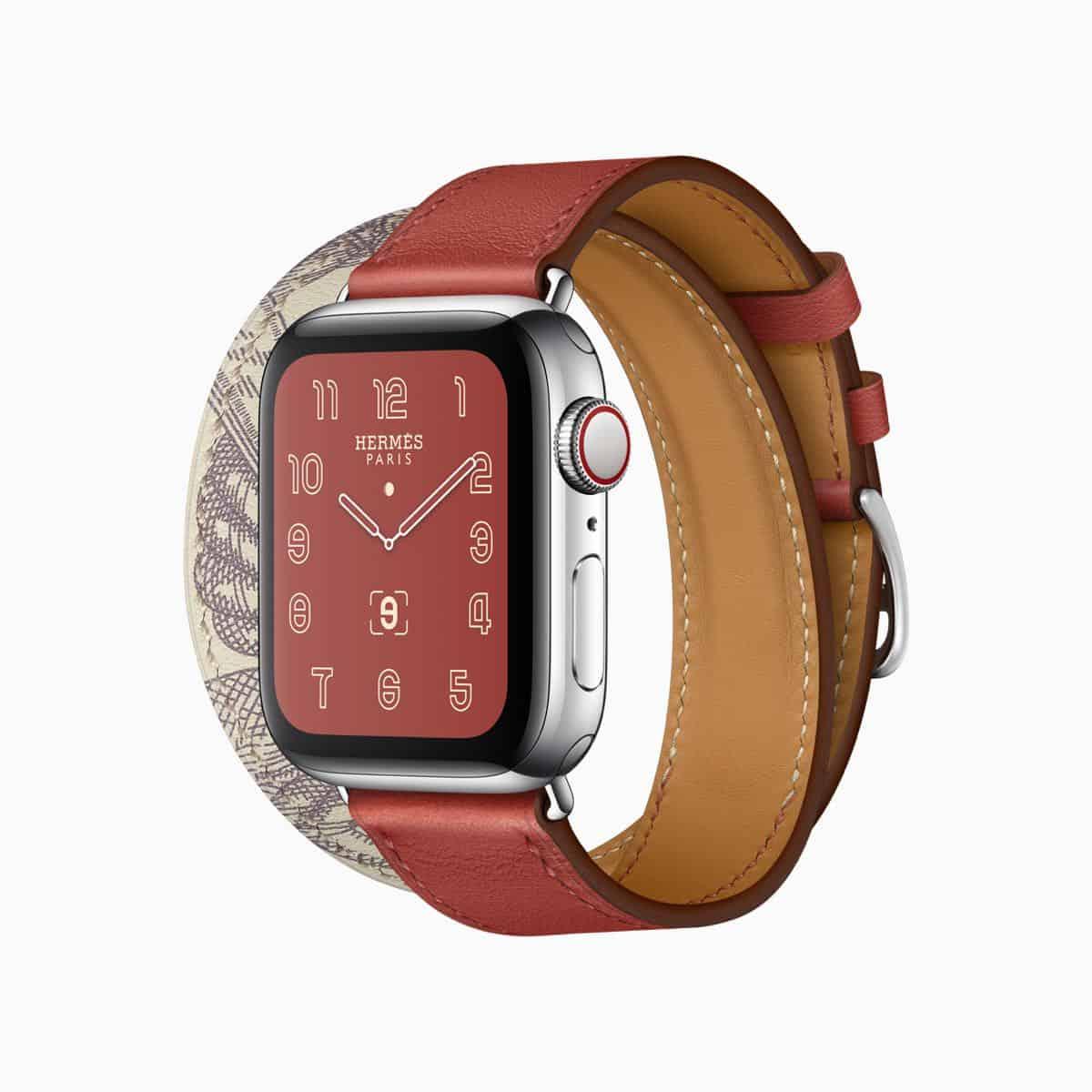 Apple watch series 5 hermes face double tour della cavalleria print brique beton grey band 091019