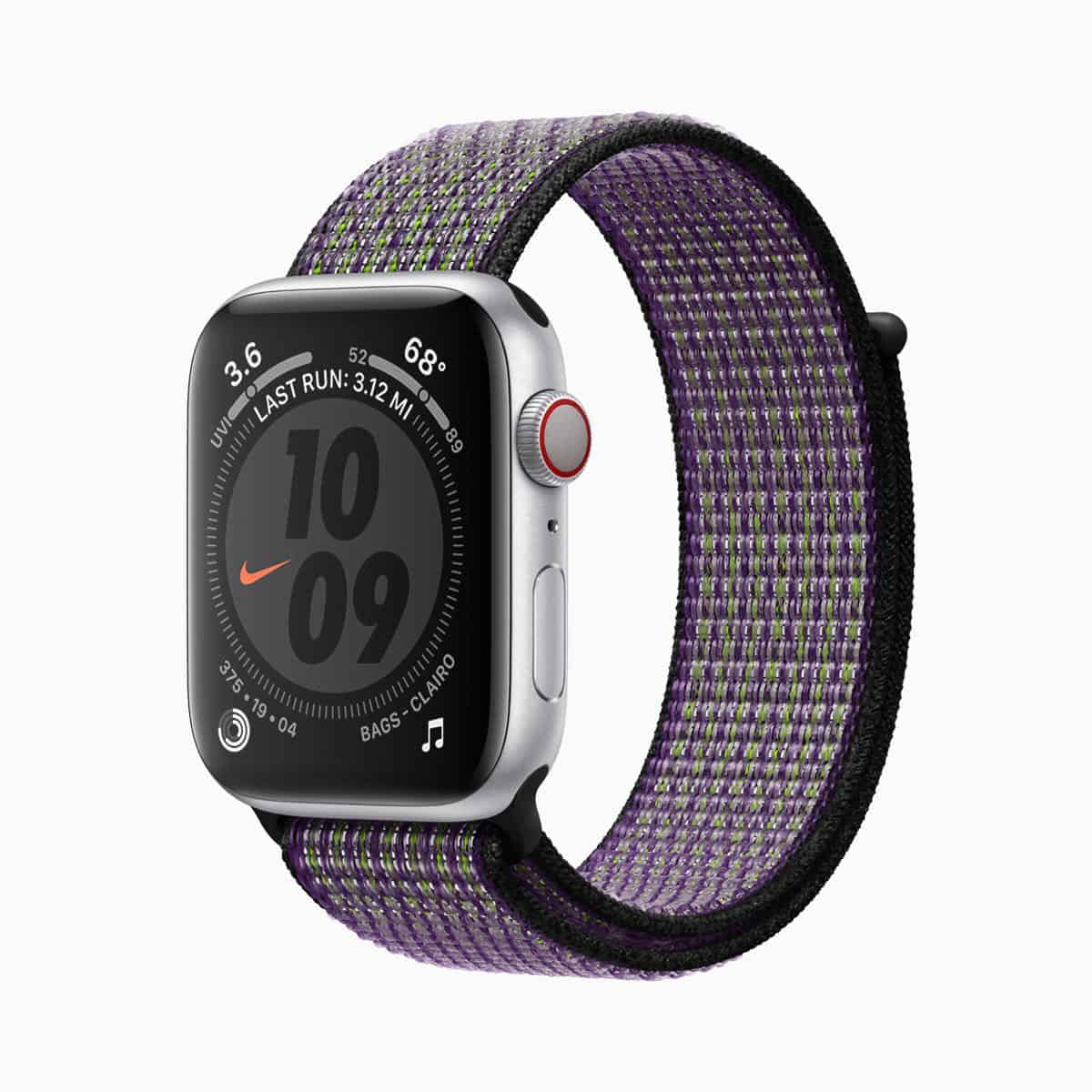 Apple watch series 5 nike sports band voltage purple 091019