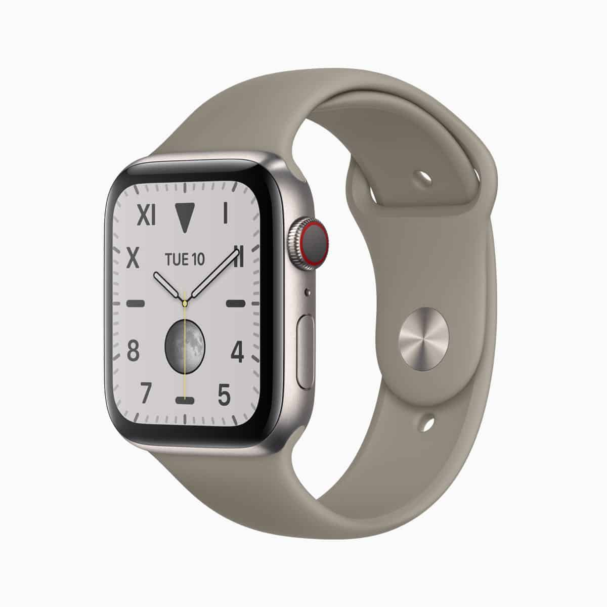 Apple watch series 5 natural brushed titanium case viper natural band 091019