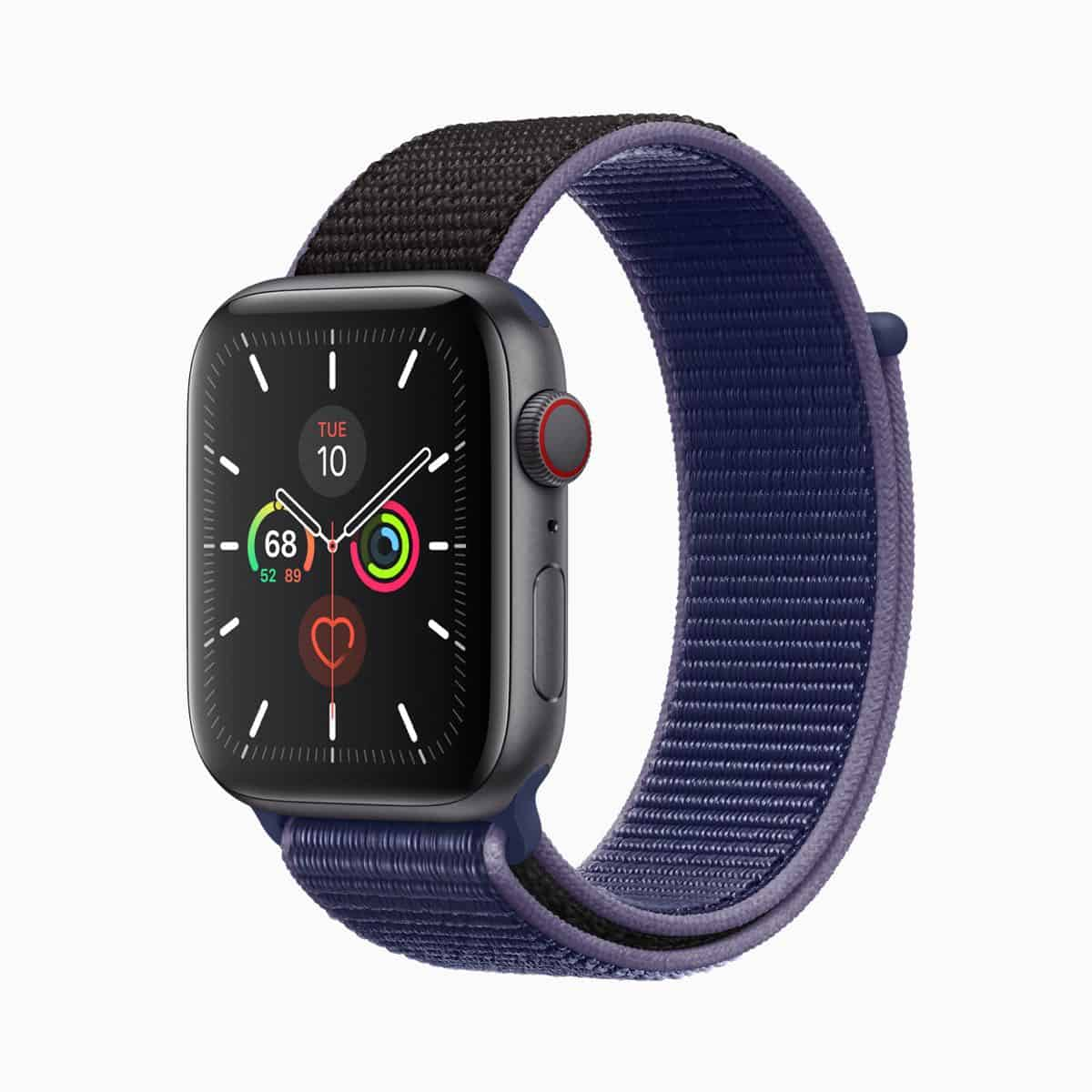 Apple watch series 5 midnight blue band space gray aluminum case 091019
