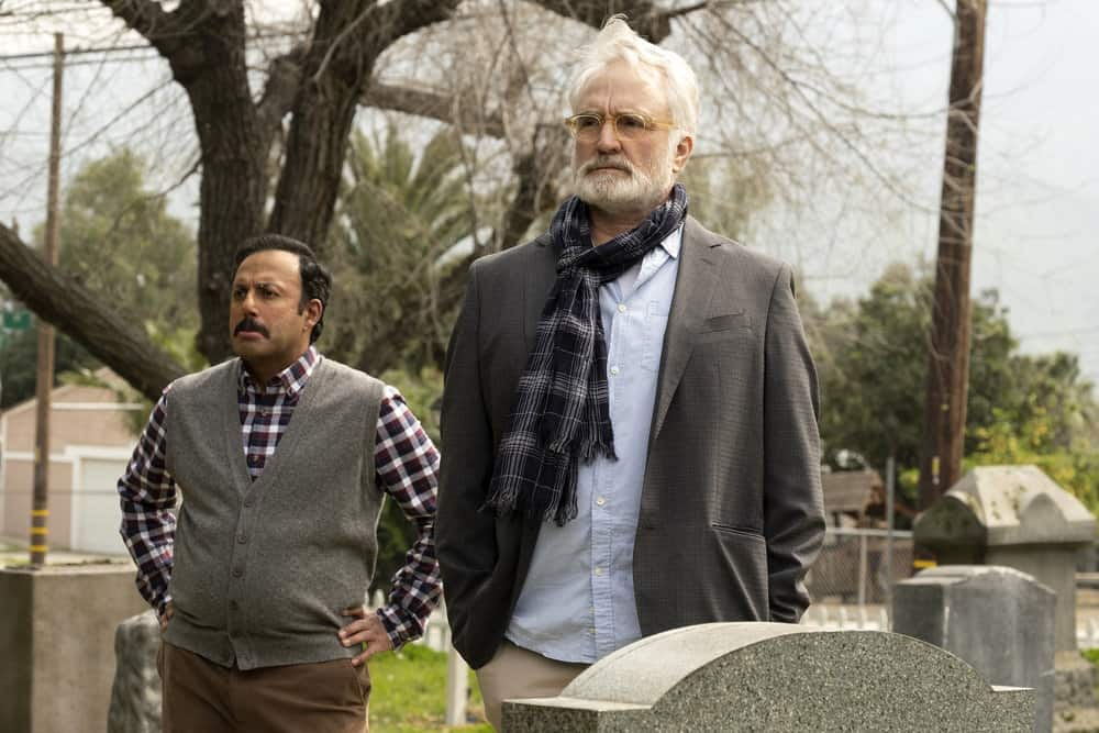 "PERFECT HARMONY -- ""Pilot"" Episode 101 -- Pictured: (l-r) Rizwan Manji as Reverend Jax, Bradley Whitford as Arthur -- (Photo by: Justin Lubin/NBC)"