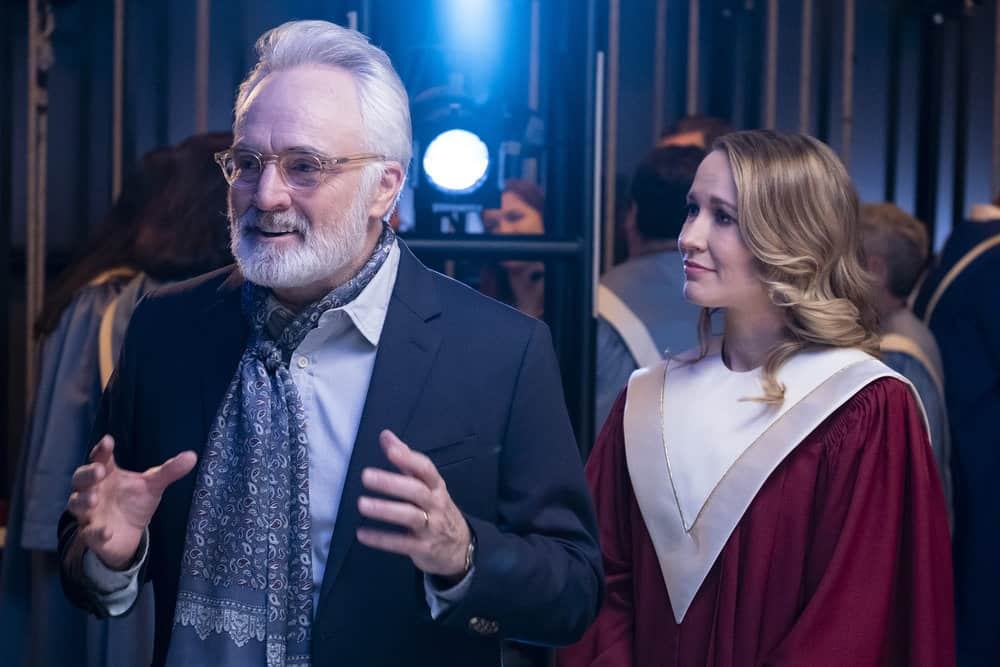 "PERFECT HARMONY -- ""Pilot"" Episode 101 -- Pictured: (l-r) Bradley Whitford as Arthur, Anna Camp as Ginny -- (Photo by: Justin Lubin/NBC)"