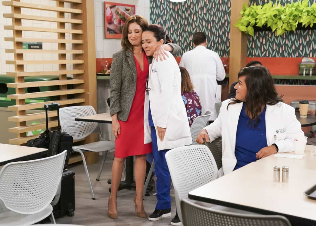 """""""Pilot"""" -- Carol Kenney enthusiastically begins her first day as an internal medicine intern, but has a rocky start when she disregards direct orders from her boss in order to help a patient. Also, Carol meets Dr. Frost, a senior attending physician who may be the ally Carol needs in her second act, on the series premiere of CAROL'S SECOND ACT, Thursday, Sept. 26 (9:30-10:00 PM, ET/PT) on the CBS Television Network. Pictured: Ashley Tisdale as Jenny, Patricia Heaton as Carol Kennedy and Sabrina Jalees as Lexie. Photo: Sonja Flemming/CBS©2019 CBS Broadcasting, Inc. All Rights Reserved"""