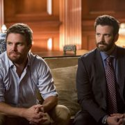 "Arrow -- ""Starling City"" -- Image Number: AR801a_0254b.jpg -- Pictured (L-R): Stephen Amell as Oliver Queen/Green Arrow and Colin Donnell as Tommy Merlyn -- Photo: Dean Buscher/The CW -- © 2019 The CW Network, LLC. All Rights Reserved."