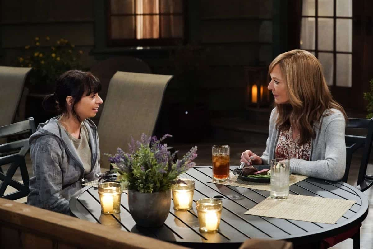 """Audrey Hepburn and a Jalepeño Pepper"" -- While Bonnie struggles to enjoy her perfect honeymoon with Adam, Christy makes some questionable changes at the bar while they're away, on the seventh season premiere of MOM, Thursday, Sept. 26 (9:01-9:30 PM, ET/PT) on the CBS Television Network.  Pictured (R): Allison Janney as Bonnie  Photo: Michael Yarish/CBS ©2019 CBS Broadcasting, Inc. All Rights Reserved"