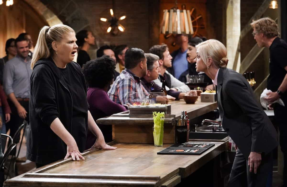 """Audrey Hepburn and a Jalepeño Pepper"" -- While Bonnie struggles to enjoy her perfect honeymoon with Adam, Christy makes some questionable changes at the bar while they're away, on the seventh season premiere of MOM, Thursday, Sept. 26 (9:01-9:30 PM, ET/PT) on the CBS Television Network.  Pictured (L-R): Kristen Johnston as Tammy and Anna Faris as Christy  Photo: Michael Yarish/CBS ©2019 CBS Broadcasting, Inc. All Rights Reserved"