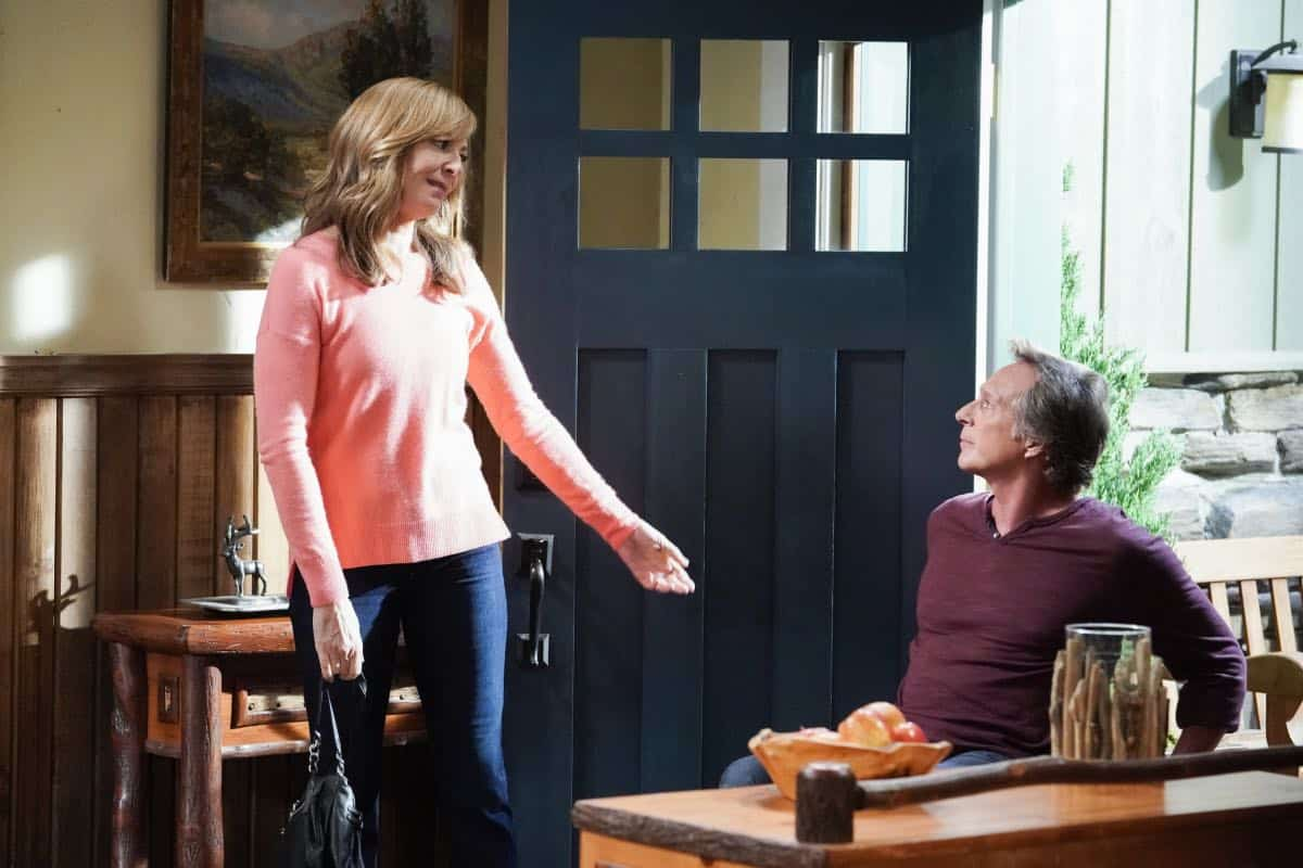 """Audrey Hepburn and a Jalepeño Pepper"" -- While Bonnie struggles to enjoy her perfect honeymoon with Adam, Christy makes some questionable changes at the bar while they're away, on the seventh season premiere of MOM, Thursday, Sept. 26 (9:01-9:30 PM, ET/PT) on the CBS Television Network.  Pictured (L-R): Allison Janney as Bonnie and William Fichtner as Adam  Photo: Michael Yarish/CBS ©2019 CBS Broadcasting, Inc. All Rights Reserved"