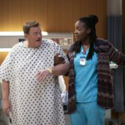 """""""Pilot"""" -- Bob, a middle-aged compression-sock businessman from Detroit, unexpectedly falls for his cardiac nurse, Abishola, a Nigerian immigrant, while recovering from a heart attack and sets his sights on winning her over, on the series premiere of BOB HEARTS ABISHOLA, Monday, Sept. 23 (8:30-9:00 PM, ET/PT) on the CBS Television Network. Billy Gardell, Folake Olowofoyeku, Christine Ebersole, Matt Jones, Maribeth Monroe, Vernee Watson, Shola Adewusi, Barry Shabaka Henley and Travis Wolfe, Jr. star. Co-creator and producer Gina Yashere recurs. Pictured (L-R): Billy Gardell as Bob and Folake Olowofoyeku as Abishola. Photo: Sonja Flemming/CBS ©2019 CBS Broadcasting, Inc. All Rights Reserved"""
