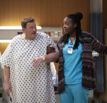 """Pilot"" -- Bob, a middle-aged compression-sock businessman from Detroit, unexpectedly falls for his cardiac nurse, Abishola, a Nigerian immigrant, while recovering from a heart attack and sets his sights on winning her over, on the series premiere of BOB HEARTS ABISHOLA, Monday, Sept. 23 (8:30-9:00 PM, ET/PT) on the CBS Television Network. Billy Gardell, Folake Olowofoyeku, Christine Ebersole, Matt Jones, Maribeth Monroe, Vernee Watson, Shola Adewusi, Barry Shabaka Henley and Travis Wolfe, Jr. star. Co-creator and producer Gina Yashere recurs. Pictured (L-R): Billy Gardell as Bob and Folake Olowofoyeku as Abishola. Photo: Sonja Flemming/CBS ©2019 CBS Broadcasting, Inc. All Rights Reserved"