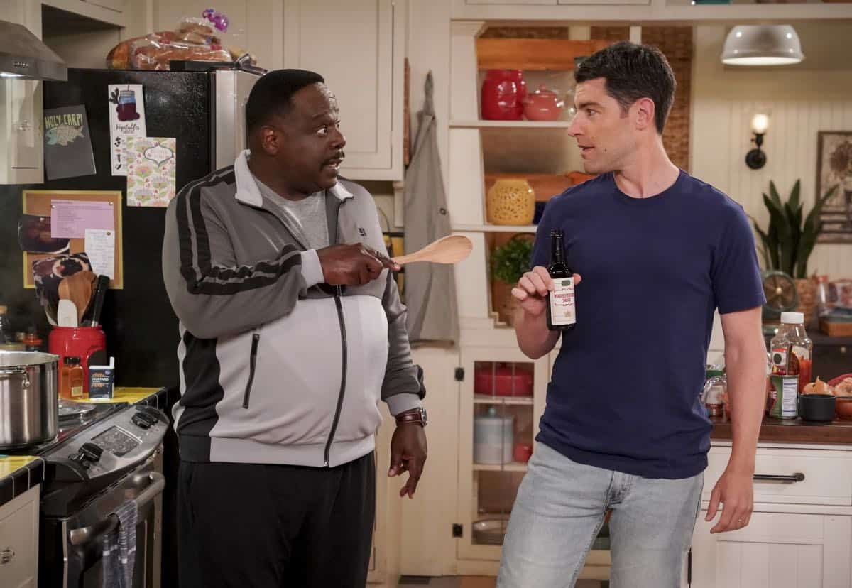 """Welcome to the Re-Rack"" - Pictured: Cedric the Entertainer (Calvin Butler) and Max Greenfield (Dave Johnson). One year after the Johnsons moved next door to the Butlers, Dave is eager to take on a bigger role in Calvin's annual Yardecue and prove how much a part of the community he's become. But Calvin's reaction makes it clear that, while the relationship between the two families has grown, the friendship between Calvin and Dave still has a way to go, on the second season premiere of THE NEIGHBORHOOD, Monday, Sept. 23 (8:00-8:30 PM, ET/PT) on the CBS Television Network. Photo: Monty Brinton/CBS ©2019 CBS Broadcasting, Inc. All Rights Reserved."