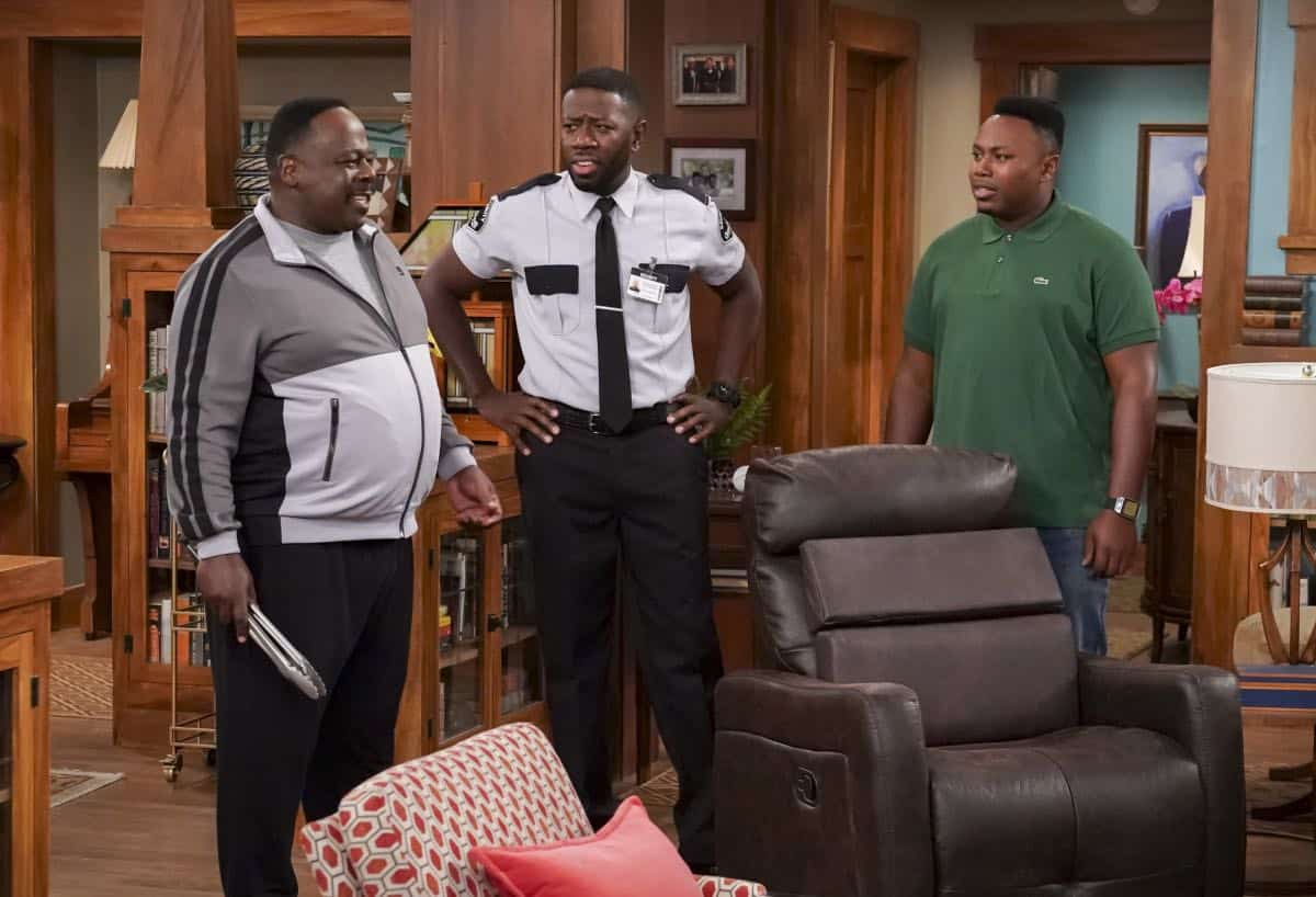 """Welcome to the Re-Rack"" - Pictured: Cedric the Entertainer (Calvin Butler), Sheaun McKinney (Malcolm Butler) and Marcel Spears (Marty Butler). One year after the Johnsons moved next door to the Butlers, Dave is eager to take on a bigger role in Calvin's annual Yardecue and prove how much a part of the community he's become. But Calvin's reaction makes it clear that, while the relationship between the two families has grown, the friendship between Calvin and Dave still has a way to go, on the second season premiere of THE NEIGHBORHOOD, Monday, Sept. 23 (8:00-8:30 PM, ET/PT) on the CBS Television Network. Photo: Monty Brinton/CBS ©2019 CBS Broadcasting, Inc. All Rights Reserved."