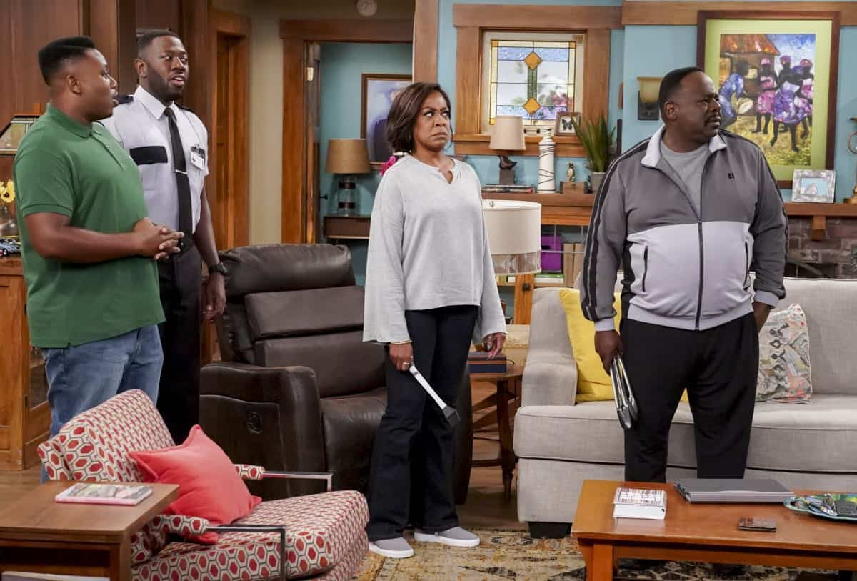 """Welcome to the Re-Rack"" - Pictured: Marcel Spears (Marty Butler), Sheaun McKinney (Malcolm Butler), Tichina Arnold (Tina Butler) and Cedric the Entertainer (Calvin Butler). One year after the Johnsons moved next door to the Butlers, Dave is eager to take on a bigger role in Calvin's annual Yardecue and prove how much a part of the community he's become. But Calvin's reaction makes it clear that, while the relationship between the two families has grown, the friendship between Calvin and Dave still has a way to go, on the second season premiere of THE NEIGHBORHOOD, Monday, Sept. 23 (8:00-8:30 PM, ET/PT) on the CBS Television Network. Photo: Monty Brinton/CBS ©2019 CBS Broadcasting, Inc. All Rights Reserved."