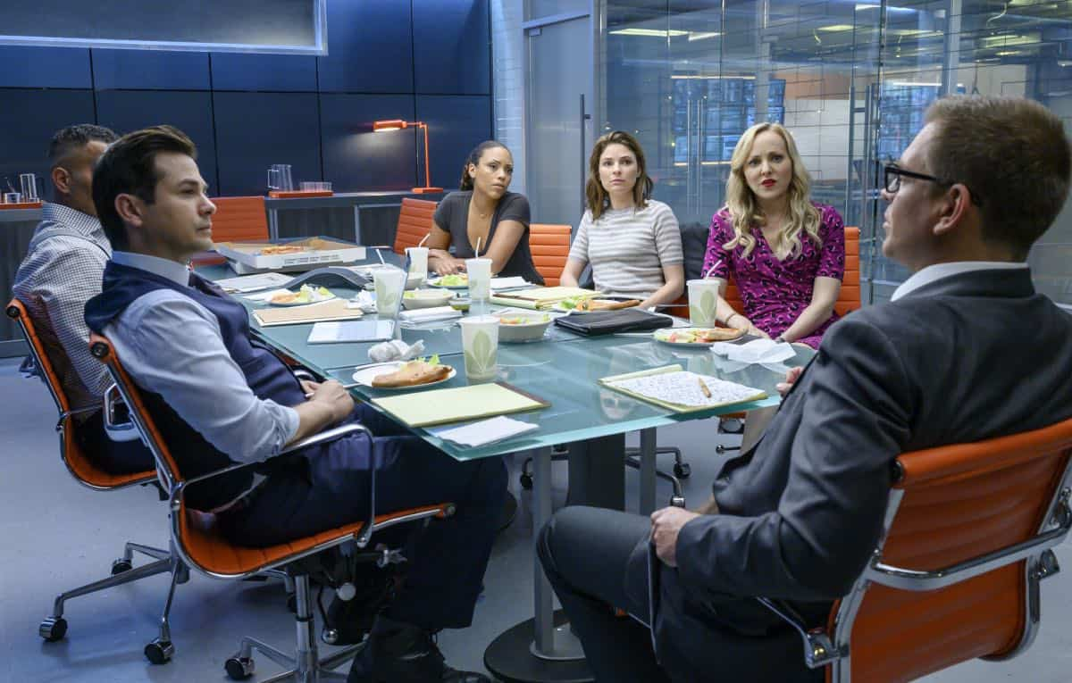 """Fantastica Voyage"" - Bull sees a visionary whereas the federal government sees a con woman when he helps the defense of a charismatic entrepreneur, Whitney Holland (Liz Alderfer), who's accused of defrauding investors in her seemingly groundbreaking water filtration system company. As the trial gets underway, Bull focuses on selecting jurors whose belief systems allow them to see his client as a dreamer who never meant criminal intent, on BULL, Monday, Sept. 30 (10:00-11:00 PM, ET/PT) on the CBS Television Network. Michael Weatherly directed the episode. Pictured L-R: Chris Jackson as Chunk Palmer, Freddy Rodriguez as Benny Col--n, Jaime Lee Kirchner as Danny James, Mackenzie Meehan as Taylor Rentzel, Geneva Carr as Marissa Morgan, and Michael Weatherly as Dr. Jason Bull Photo: David Giesbrecht/CBS ©2019 CBS Broadcasting, Inc. All Rights Reserved"
