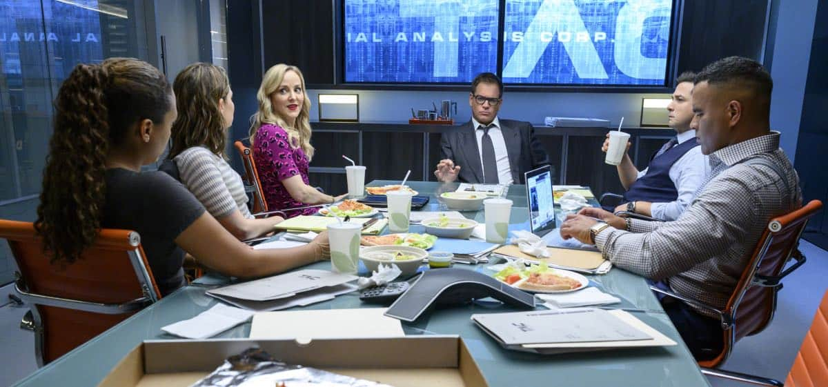"""Fantastica Voyage"" - Bull sees a visionary whereas the federal government sees a con woman when he helps the defense of a charismatic entrepreneur, Whitney Holland (Liz Alderfer), who's accused of defrauding investors in her seemingly groundbreaking water filtration system company. As the trial gets underway, Bull focuses on selecting jurors whose belief systems allow them to see his client as a dreamer who never meant criminal intent, on BULL, Monday, Sept. 30 (10:00-11:00 PM, ET/PT) on the CBS Television Network. Michael Weatherly directed the episode. Pictured L-R: Jaime Lee Kirchner as Danny James, Mackenzie Meehan as Taylor Rentzel, Geneva Carr as Marissa Morgan, Michael Weatherly as Dr. Jason Bull, Freddy Rodriguez as Benny Col--n, and Chris Jackson as Chunk Palmer Photo: David Giesbrecht/CBS ©2019 CBS Broadcasting, Inc. All Rights Reserved"