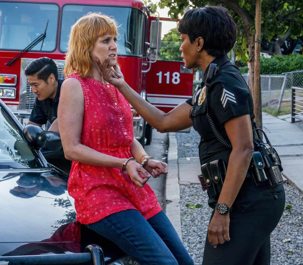 "9-1-1: L-R: Guest star Terryn Westbrook and Angela Bassett in the ""Kids Today"" season premiere episode of 9-1-1 airing Monday, Sep. 23 (8:00-9:00 PM ET/PT) on FOX. © 2019 FOX MEDIA LLC. CR: Jack Zeman / FOX."