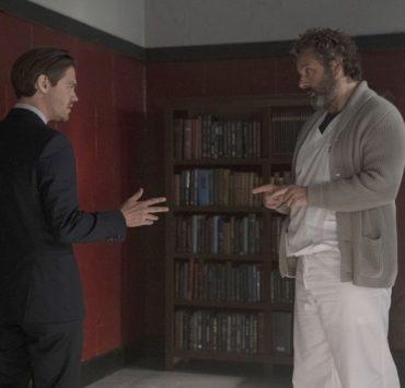 """PRODIGAL SON: L-R: Tom Payne and Michael Sheen in the """"Annihilator"""" episode of PRODIGAL SON airing Monday, Sept. 30 (9:00-10:00 PM ET/PT) on FOX. © 2019 FOX MEDIA LLC. Cr: Peter Kramer/ FOX."""
